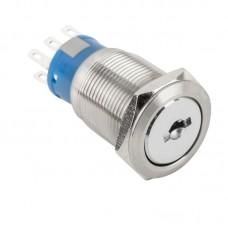 KS-19-2NO2NC Háromállású kulcsos kapcsoló 2xNO/NC 19mm